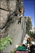 Rock Climbing Photo: JoJo taking a stab at the direct finish. Miramonte...