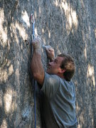 Rock Climbing Photo: Brady keeping it pure on his 4 star trad route, Cr...