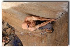 Rock Climbing Photo: Mark pulls hard on the layback.
