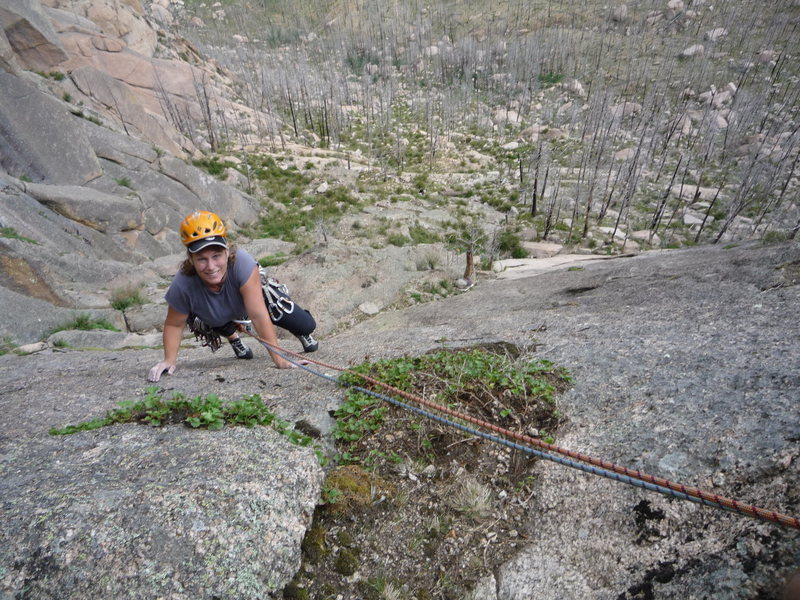 Rock Climbing Photo: End of the second pitch.
