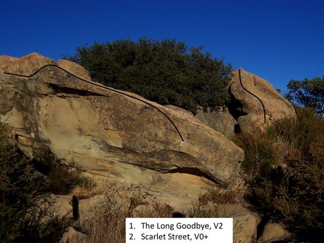 Rock Climbing Photo: The Long Goodbye (V1-2) and Scarlet Street (V0+)
