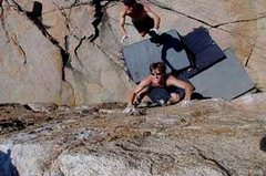 Rock Climbing Photo: Cool dyno on face.