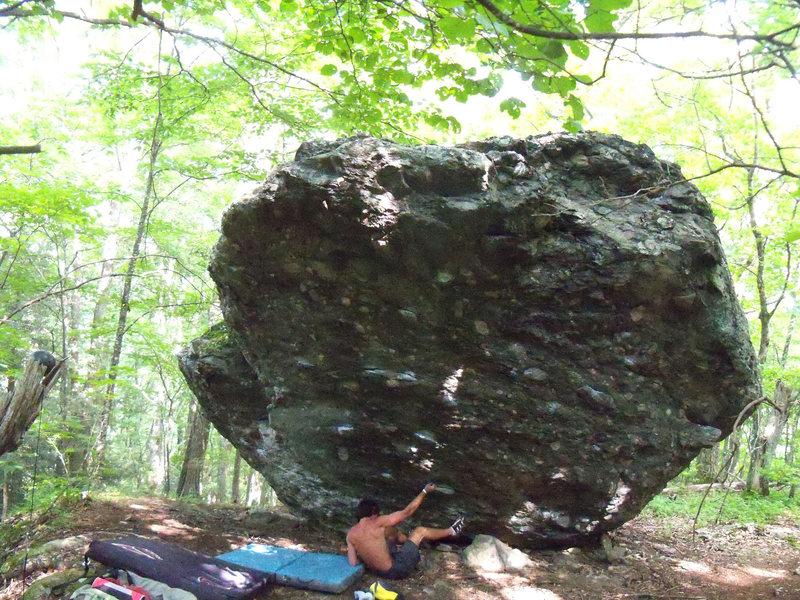 "Rock Climbing Photo: steve pulling onto ""Casual-Tees"" (v5/6) ..."
