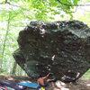 "steve pulling onto ""Casual-Tees"" (v5/6) on the AVP Boulder, AVP area, GHSP"