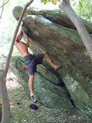 "Rock Climbing Photo: Steve Lovelace on the FA of ""Woodgrain"""