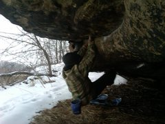 Rock Climbing Photo: Nate seeking shelter by bouldering the sandstone o...