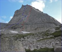 Rock Climbing Photo: The blue line is the route we took for Spear Me Th...