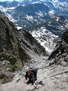 Rock Climbing Photo: looking down the West Chute