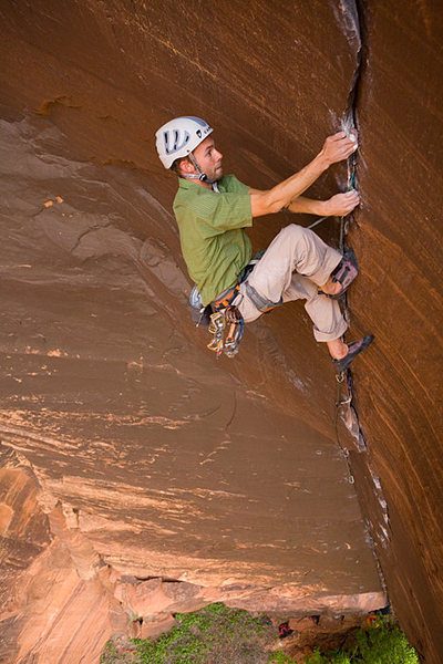 Rock Climbing Photo: Krunk Juice 12d (probably 2nd ascent?) Zion NP Pho...