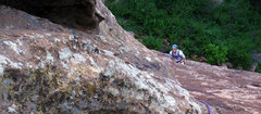 Rock Climbing Photo: Our pitch one belay location below the overhangs. ...