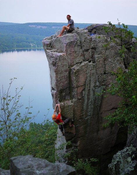 Doing a lap on this uber classic on a very humid July day. Melin on the belay, photo Tyler.