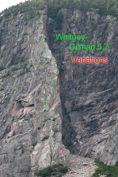 Rock Climbing Photo: The normal (5.7) route is the green line... follow...