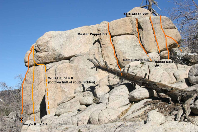 This Photo from Euan Cameron shows Jerry's kids.  I moved the line over to the right a little to where I remember the route being.  It climbs the face, not really the arete.