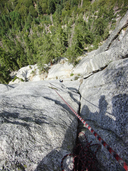 Rock Climbing Photo: Looking down from the top of the first Pitch of El...