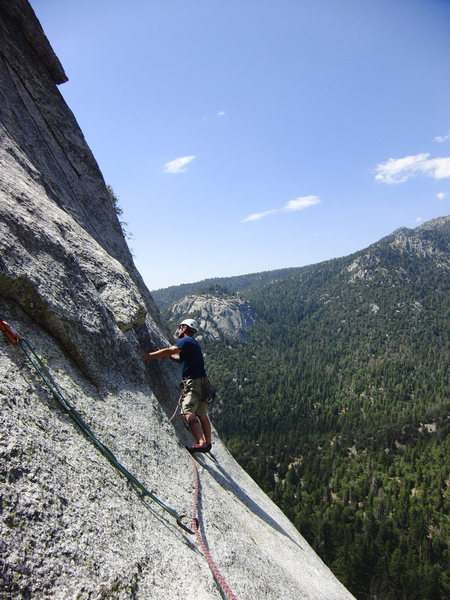 Rock Climbing Photo: Kirk making the traverse from the first belay to t...