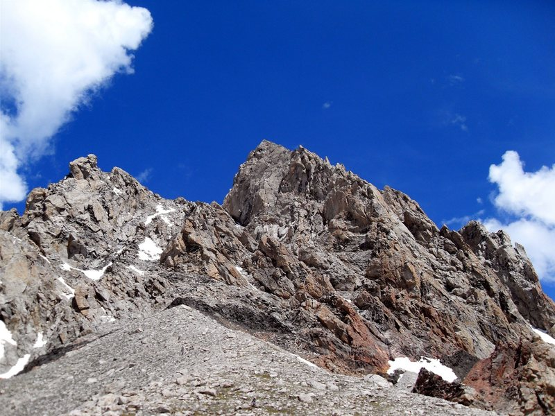 Rock Climbing Photo: Looking up the route from the Lower Saddle.  There...