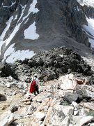 Rock Climbing Photo: Dave G. on the trail descending just above the Bla...