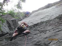 Rock Climbing Photo: chalkin up after 1st crux