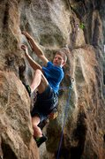 Rock Climbing Photo: Above the good rest ledge on Chupacabra heading in...