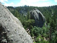 Rock Climbing Photo: Steve climbing behind Sylvan Lake.  July 2010.