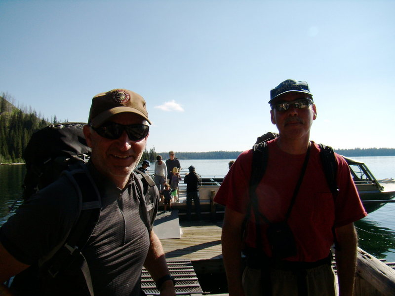 My friend Brad White (on the right) and his buddy Dave on a chance meeting at the Jenny Lake boat.  July 2010.