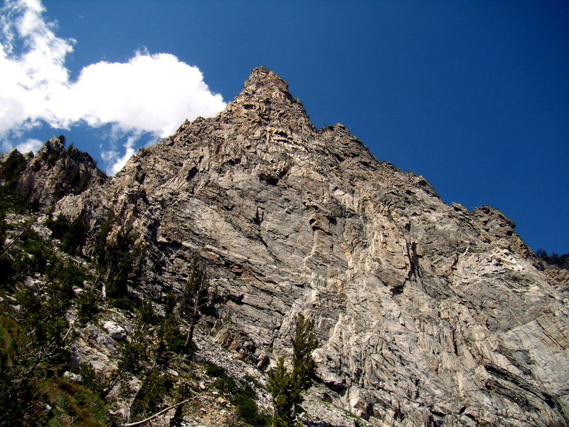 The beautiful southwest ridge of Symmetry Spire on the left. (Tetons). July 2010. Solo