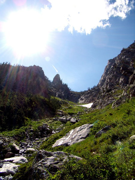 The sexy approach gully (3000+) vertical feet to the southwest ridge of Symmetry Spire.  Tetons National park.  July 2010.