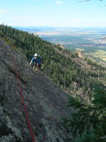 Brian Nearing the end of our third of four pitches.  From this belay it was about 60 feet to the summit.