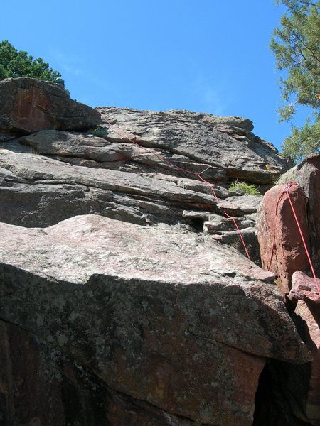 Rock Climbing Photo: Brian seconding the downclimb to the South.  We ch...