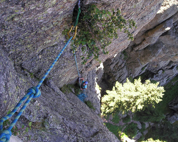 Nicole belaying in the dihedral