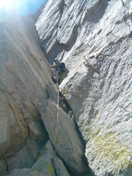 Rock Climbing Photo: Me leading final pitch up 5.7 corner.  Pic by Just...