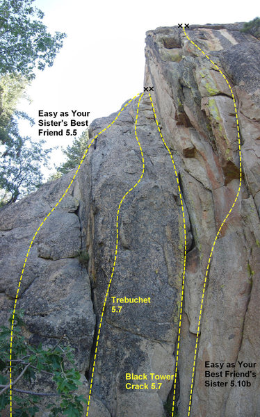 Routes on the East Face of Castle Rock