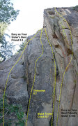 Rock Climbing Photo: Routes on the East Face of Castle Rock