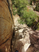 Rock Climbing Photo: Looking down from the anchors at the top of Easy a...