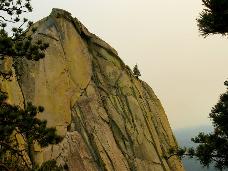 Rock Climbing Photo: The last pitch, defused by forest fire smoke.