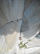 Rock Climbing Photo: Pitch 1: sweet dihedral  Not as steep as this phot...