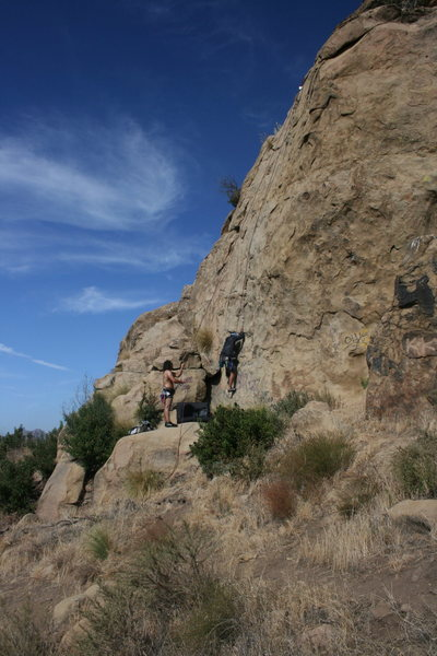 Rock Climbing Photo: Albert on Pin Scars with Roger on belay. 8-1-10