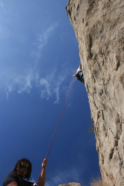 Rock Climbing Photo: Me on Pin Scars with Roger on belay. 8-1-10