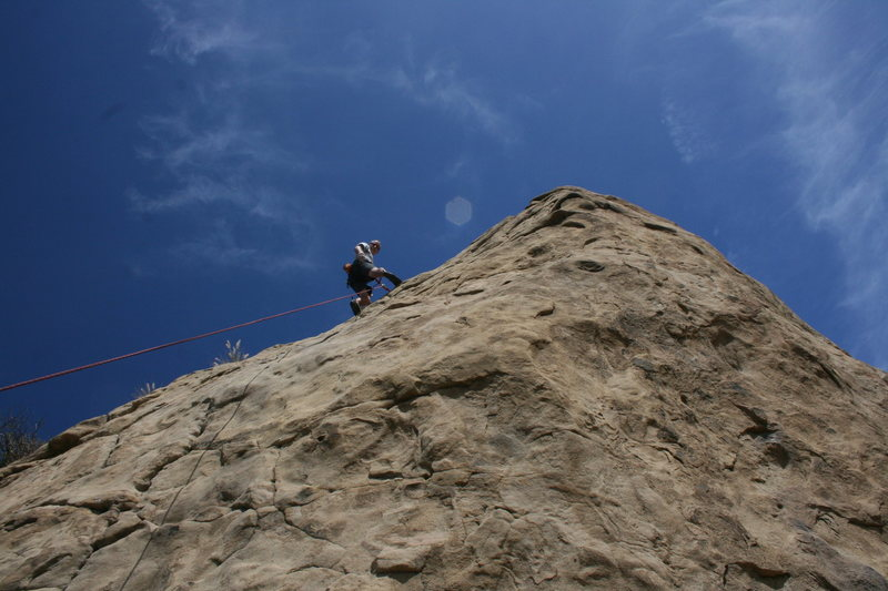 Rock Climbing Photo: Me at the top of Pin Scars, ready to lower. 8-1-10