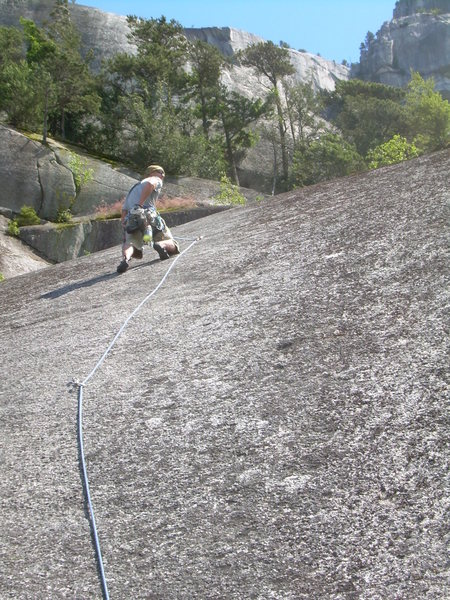 Rock Climbing Photo: Wyatt leading the final pitch