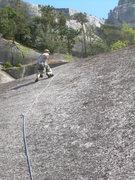 Rock Climbing Photo: Wyatt leading the final pitch