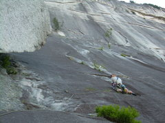 Rock Climbing Photo: Looking up the wall on the first 5.10d pitch