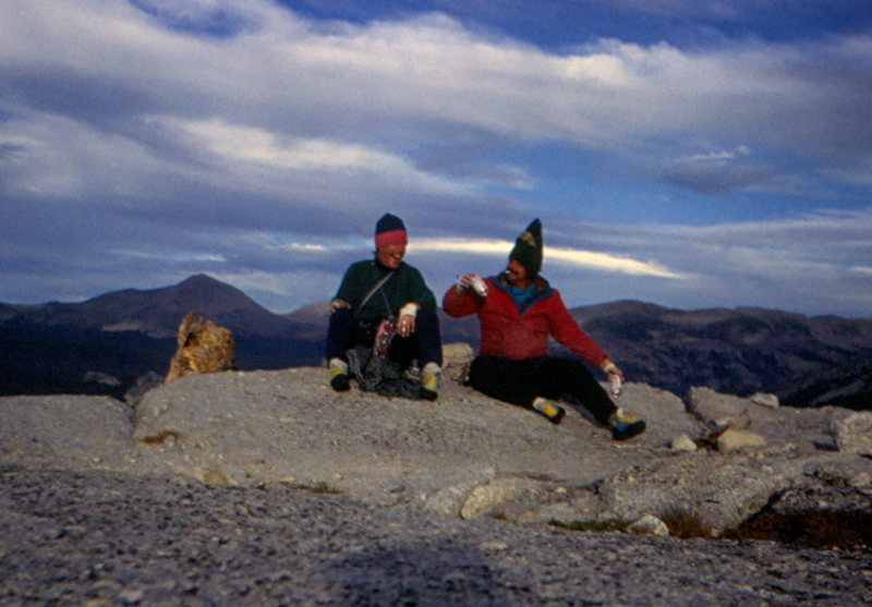Cheers.....Marc Hirt & Tim Hudgel on the summit of Fairview Dome, Sept. 1984