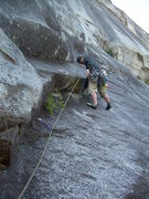Rock Climbing Photo: Wyatt starts the leaning corner of the 4th pitch