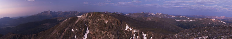 Far left is twin Sister and Longs', at the far right the Alpine Visitor Center on Trail Ridge Rd, and the entire southern section of RMNP in between. Taken from Ypsilon just before sunrise. Look at enlarged!