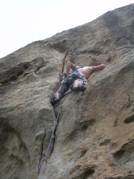 Rock Climbing Photo: Wyatt nears the business!