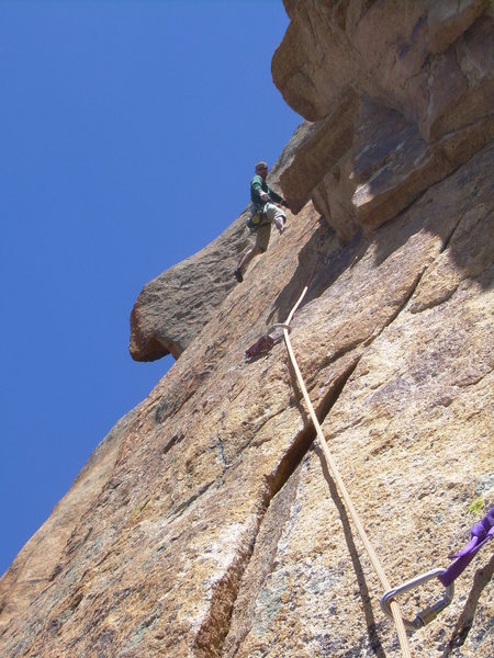 Great layback after the crux