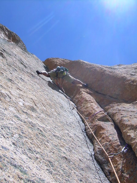 Rock Climbing Photo: Great stemming on the 4th pitch!