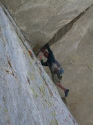 "Rock Climbing Photo: Wyatt finds an ""OK"" hand jam on the firs..."