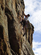 Rock Climbing Photo: Mike Williams at the Crux on Claimjumper